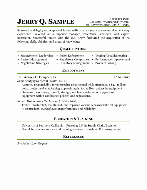 Strong Military Resume Examples