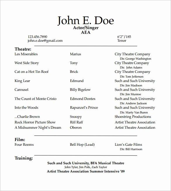 Student Actor Resume Template How to Create A Good