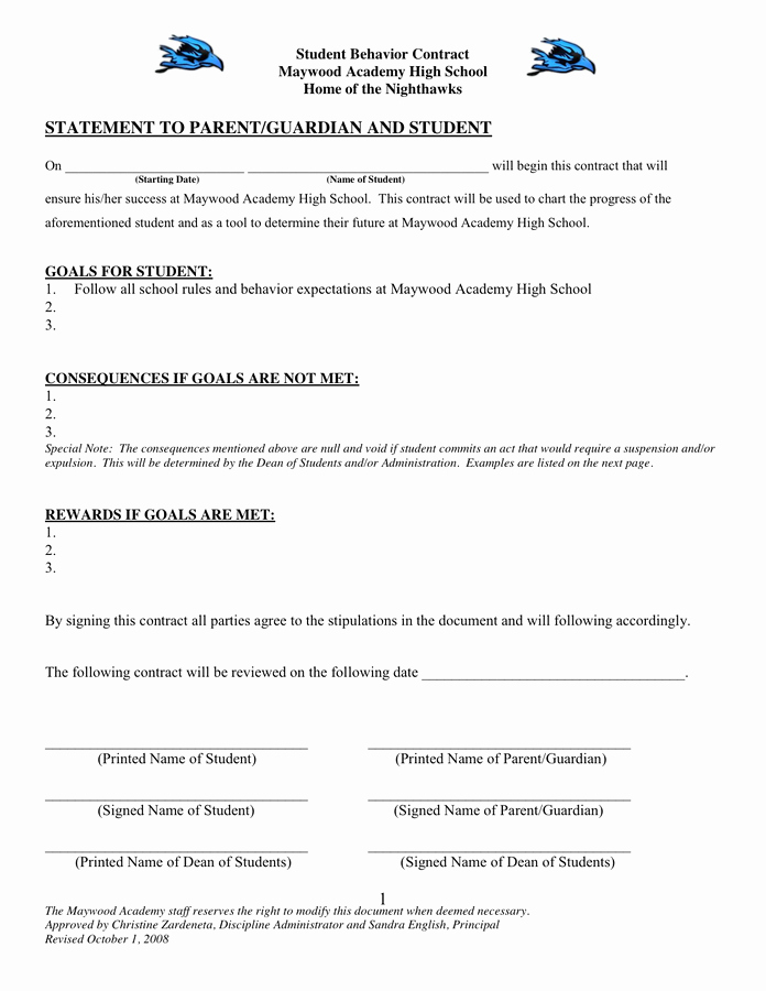 Student Behavior Contract In Word and Pdf formats
