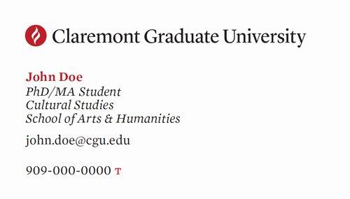 Student Business Cards Claremont Graduate University