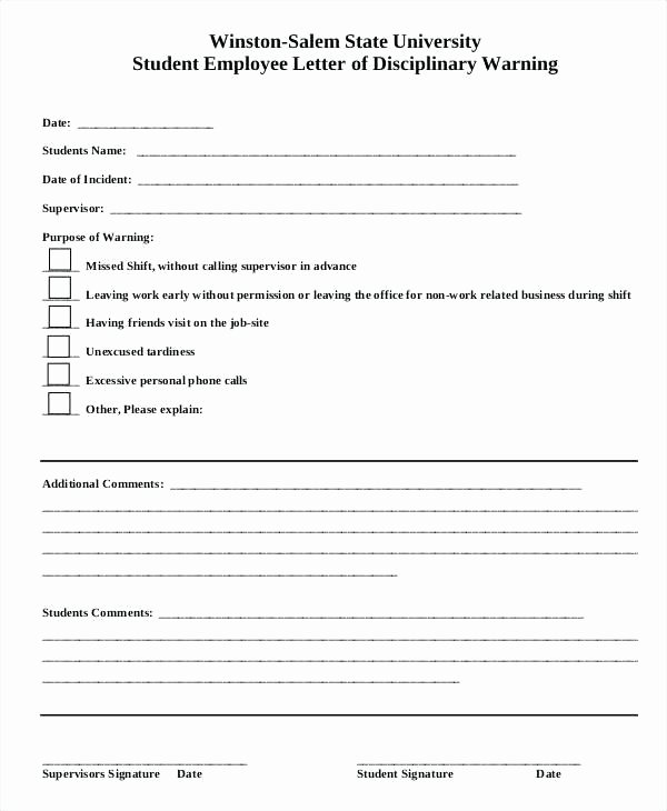 Student Employee Disciplinary Warning form Template Write