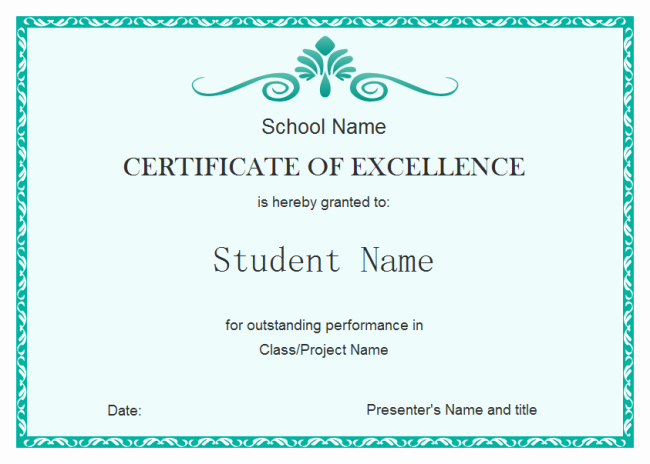Student Excellence Certificate