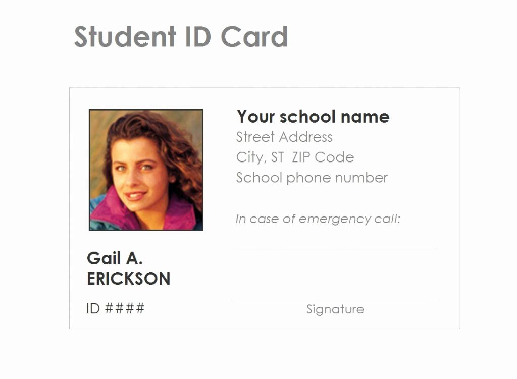 Student Identification Card Template Free