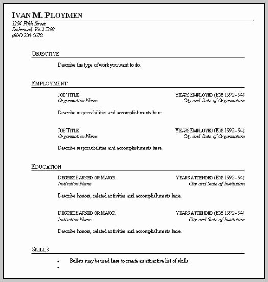 Student Resume Fill In the Blanks Resume Resume