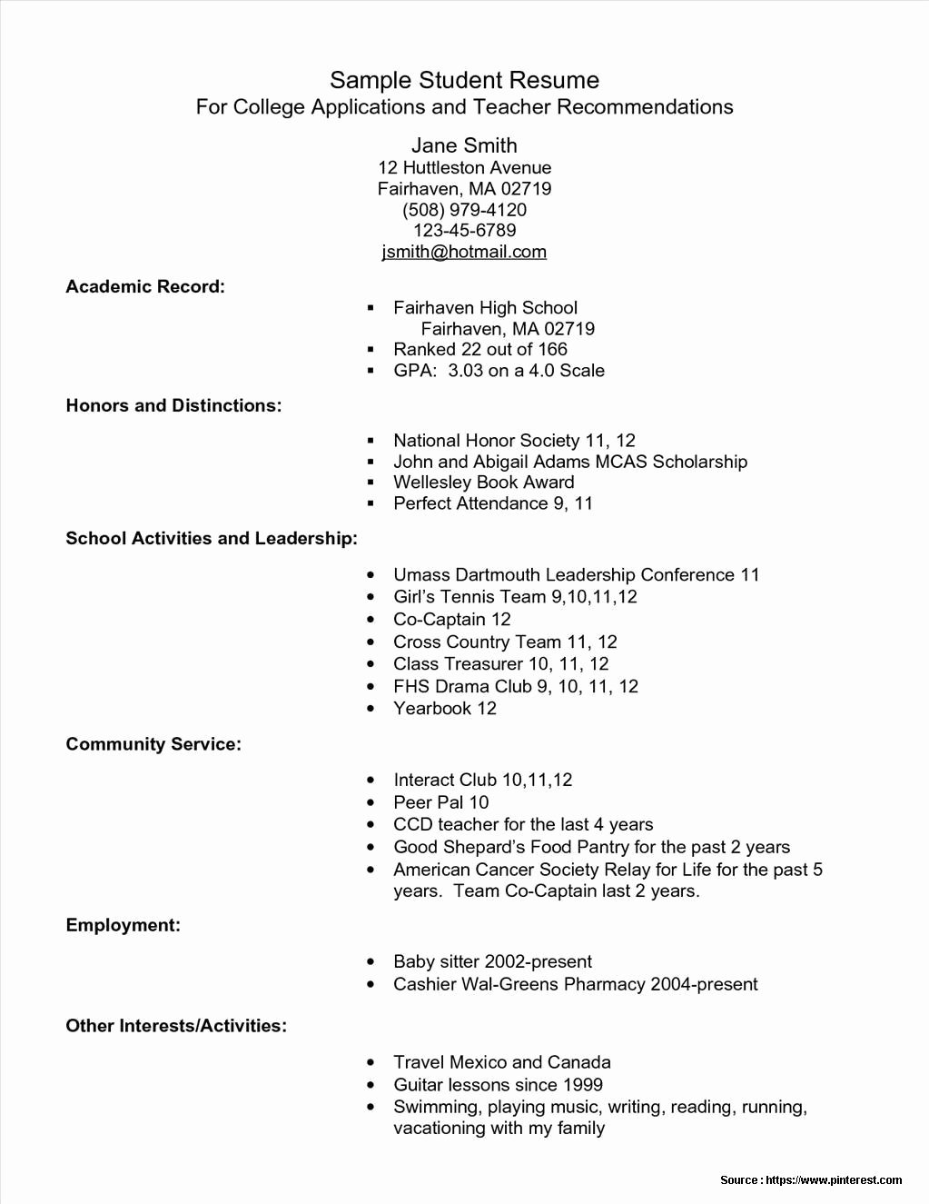 Student Resume Template for College Application Resume