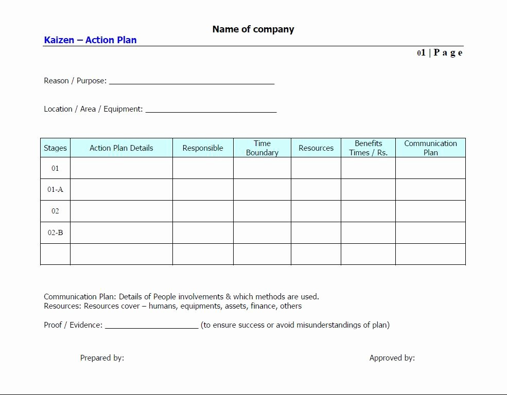 Stunning General Action Plan Template Word Examples Thogati