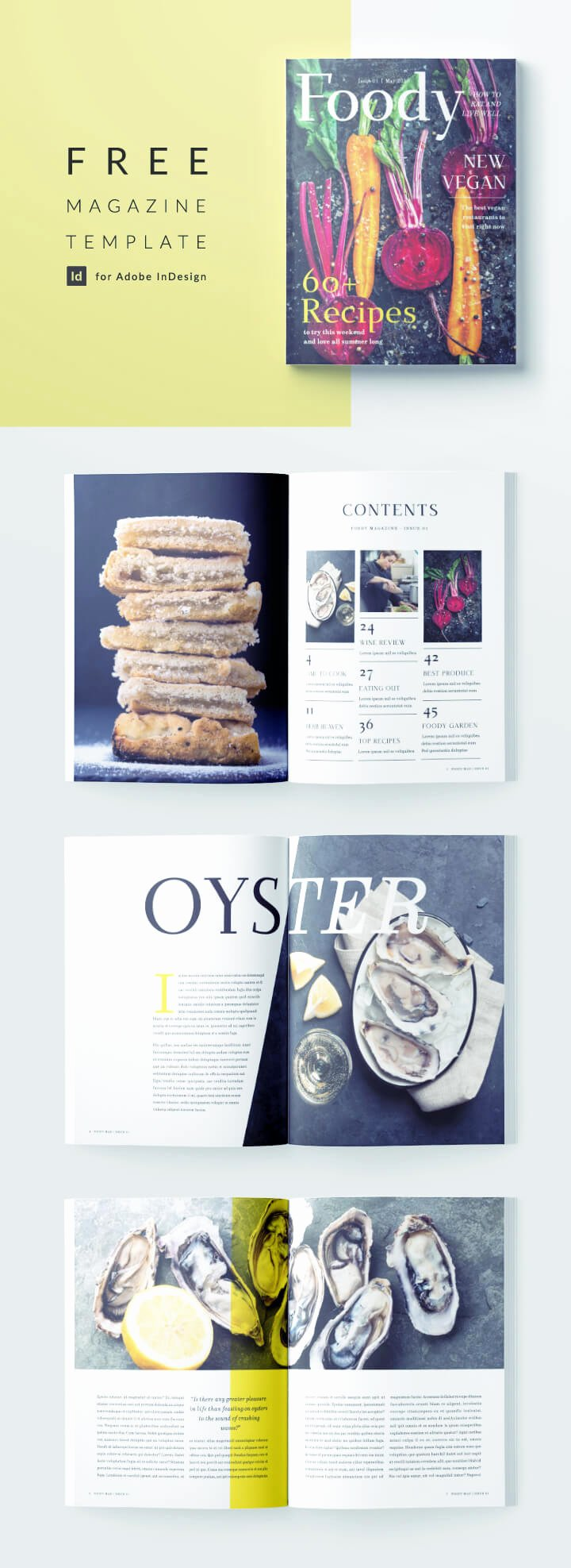 Stylish Food Magazine Template for Indesign