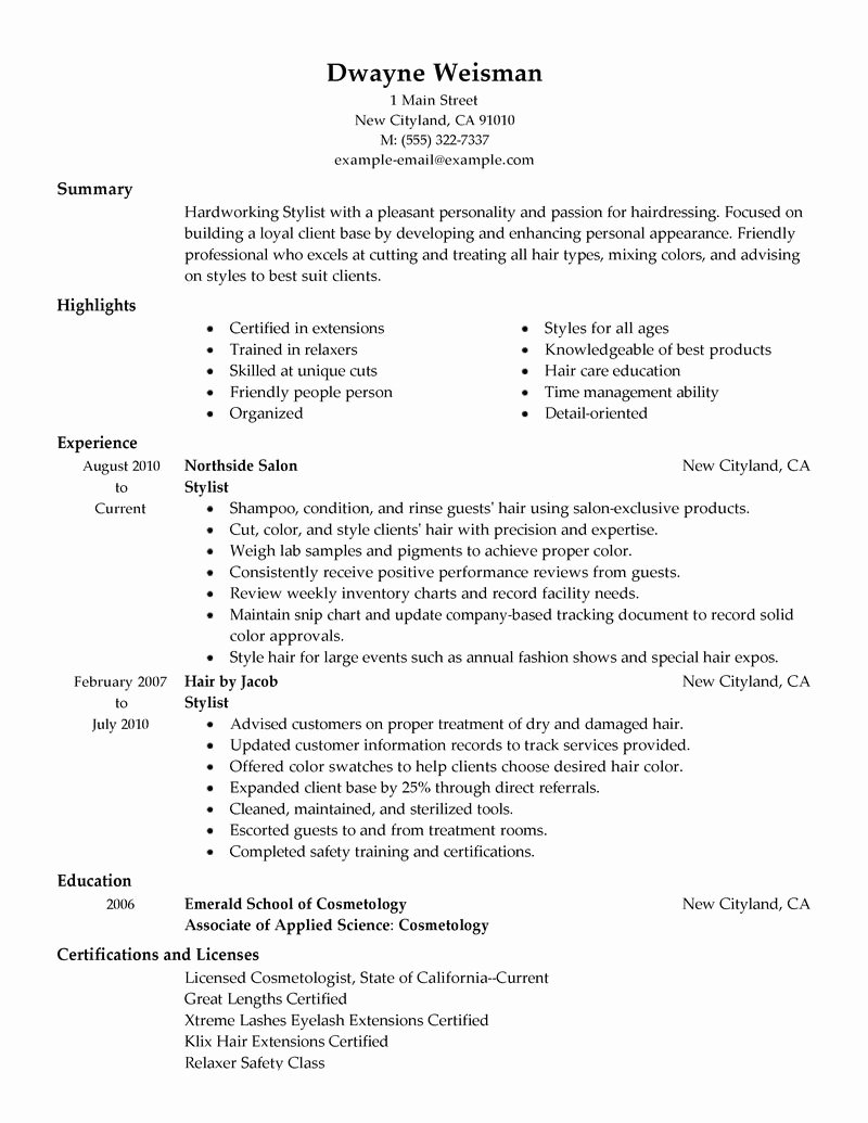 Stylist Resume Example
