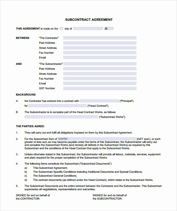 Sub Contractor Agreement Template 28 Images Sle