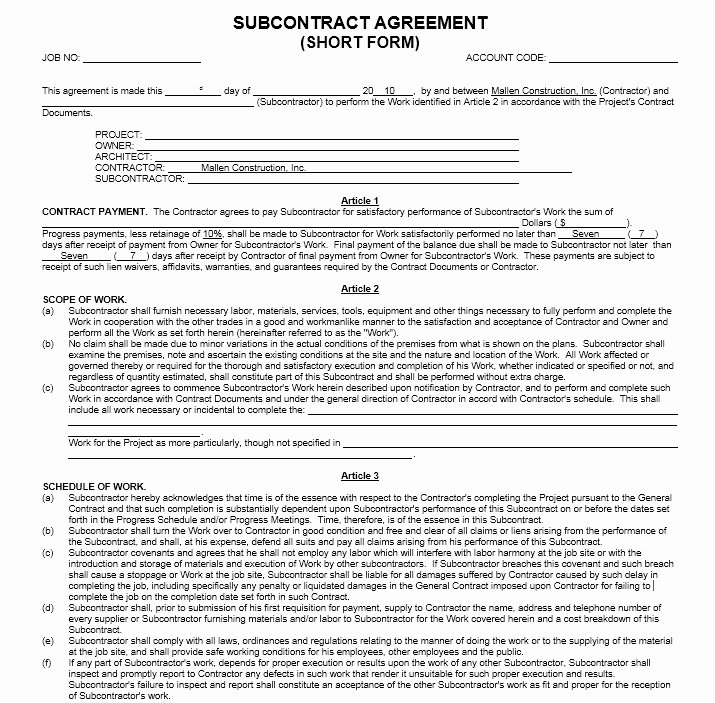 Subcontract Agreement Templates – 10 Free Sample Templates