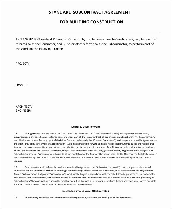 Subcontractor Agreement 11 Free Word Pdf Documents