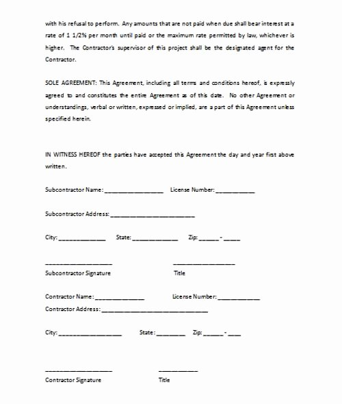 Subcontractor Agreement Template Microsoft Word Templates