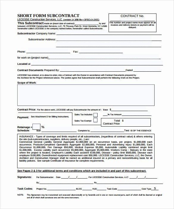 Subcontractor Contract Template 10 Download Documents