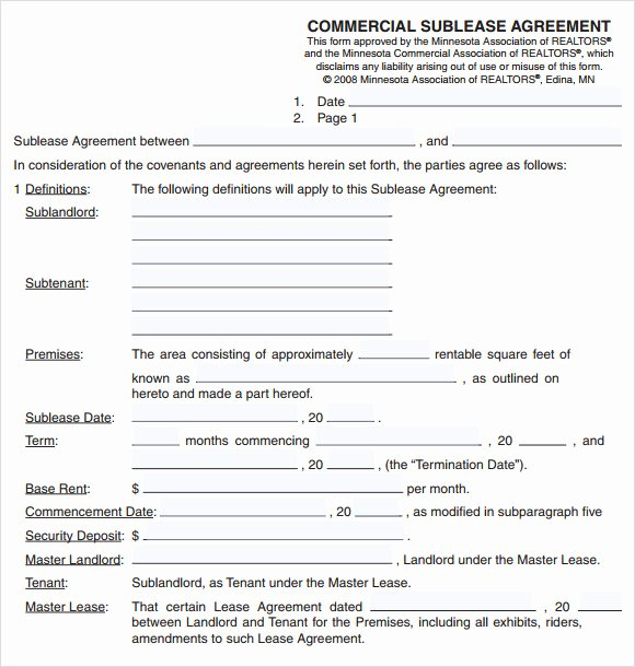 Sublease Agreement 7 Free Samples Examples format