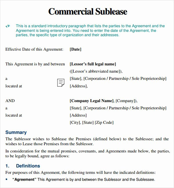 Sublease Agreement 9 Free Pdf Doc Download