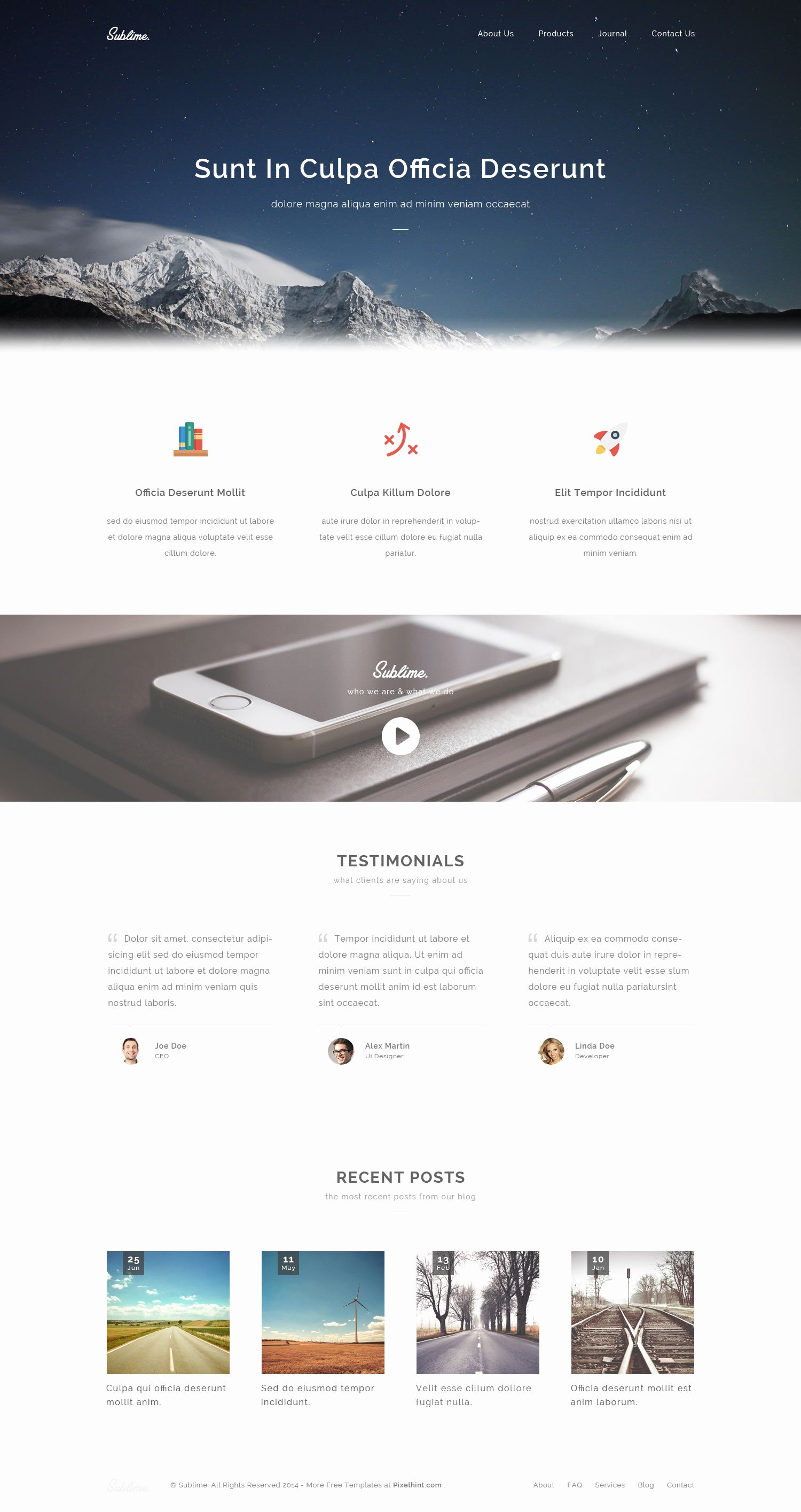 Sublime – Free Stunning HTML5 Css3 Website Template