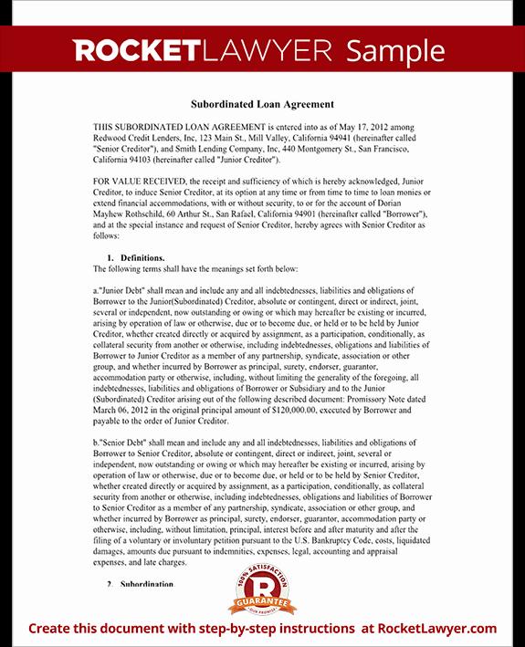 Subordination Agreement form Subordinated Loan Agreement