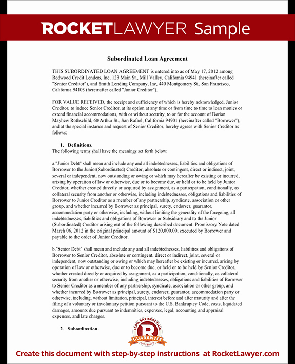 Subordination Agreement form Subordinated Loan Agreement