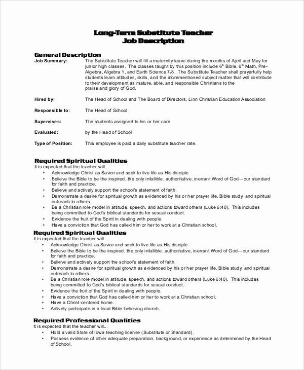 Substitute Teacher Job Description for Resume Best