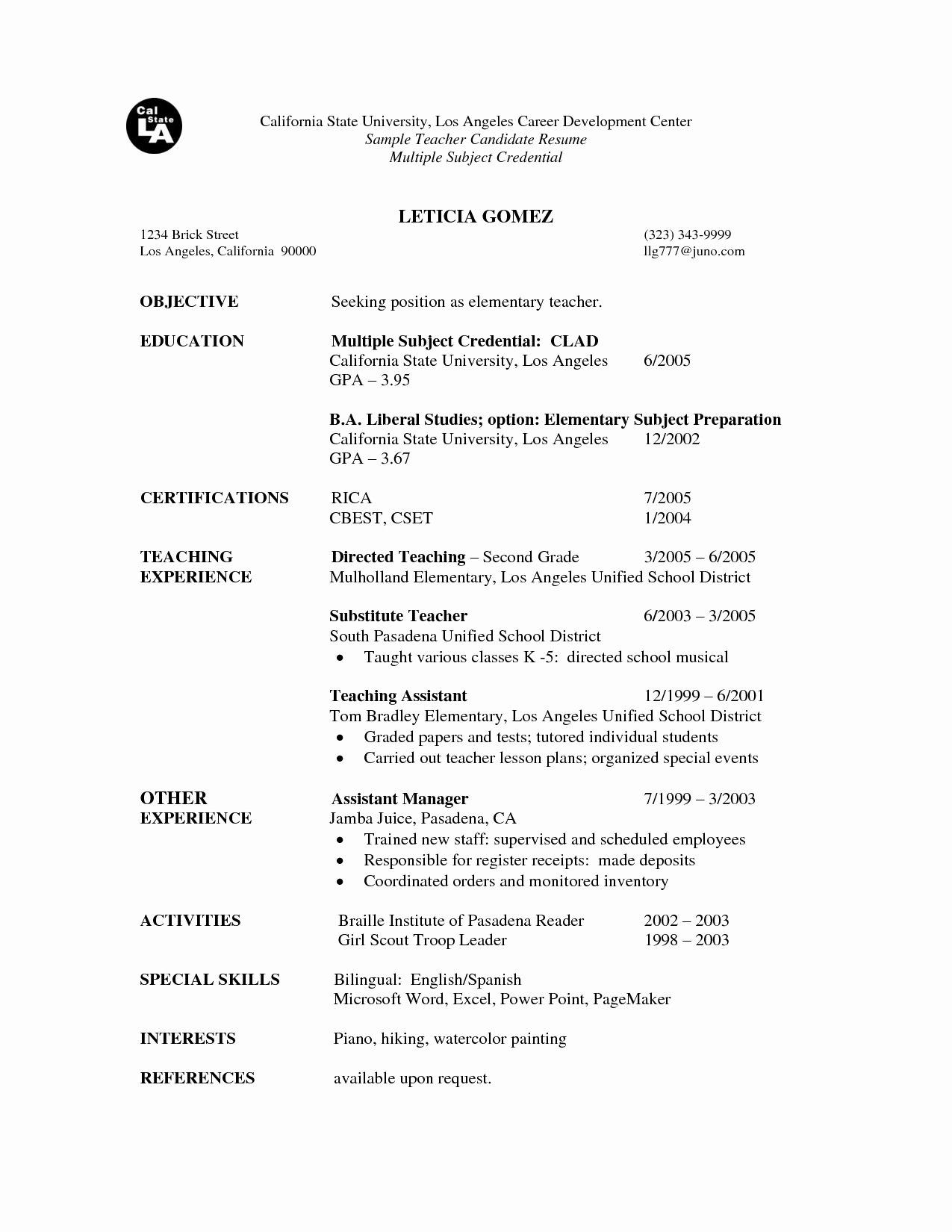 Substitute Teacher Resume Best Template Collection