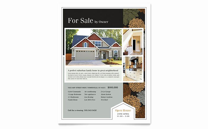 Suburban Real Estate Flyer Template Word & Publisher
