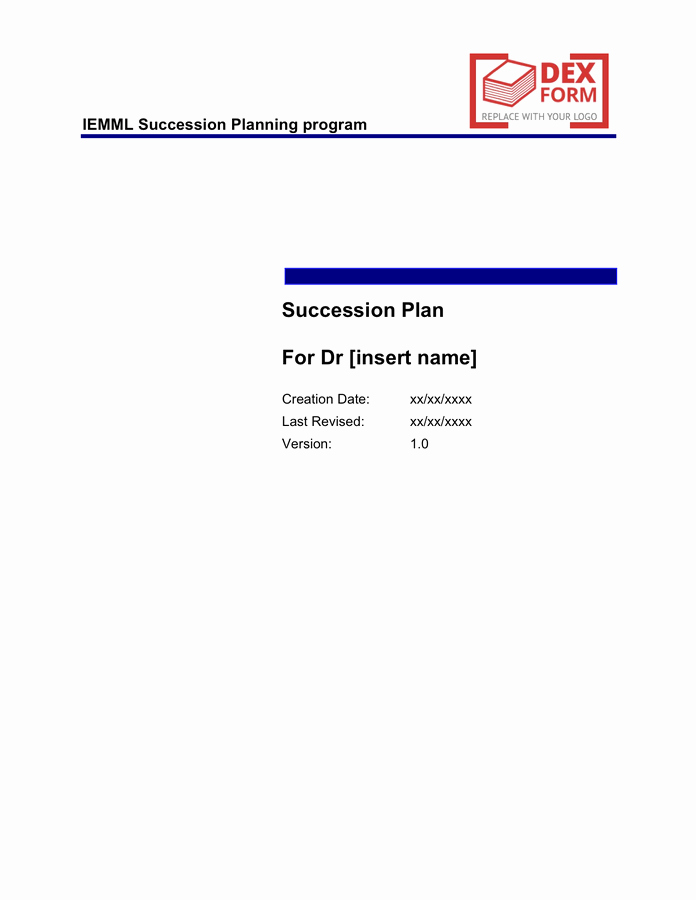 Succession Planning Template Free Documents for