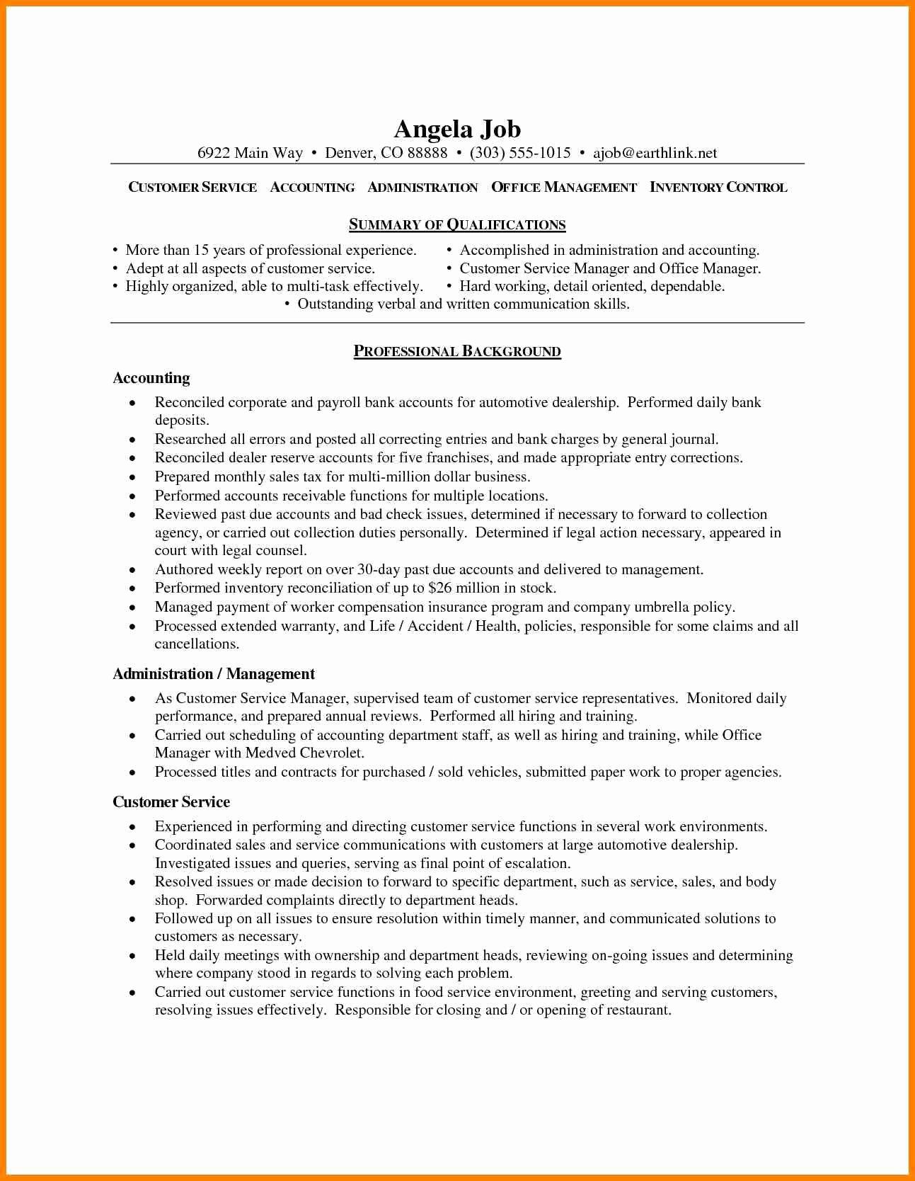 Summary Qualifications Customer Service Resume Resume
