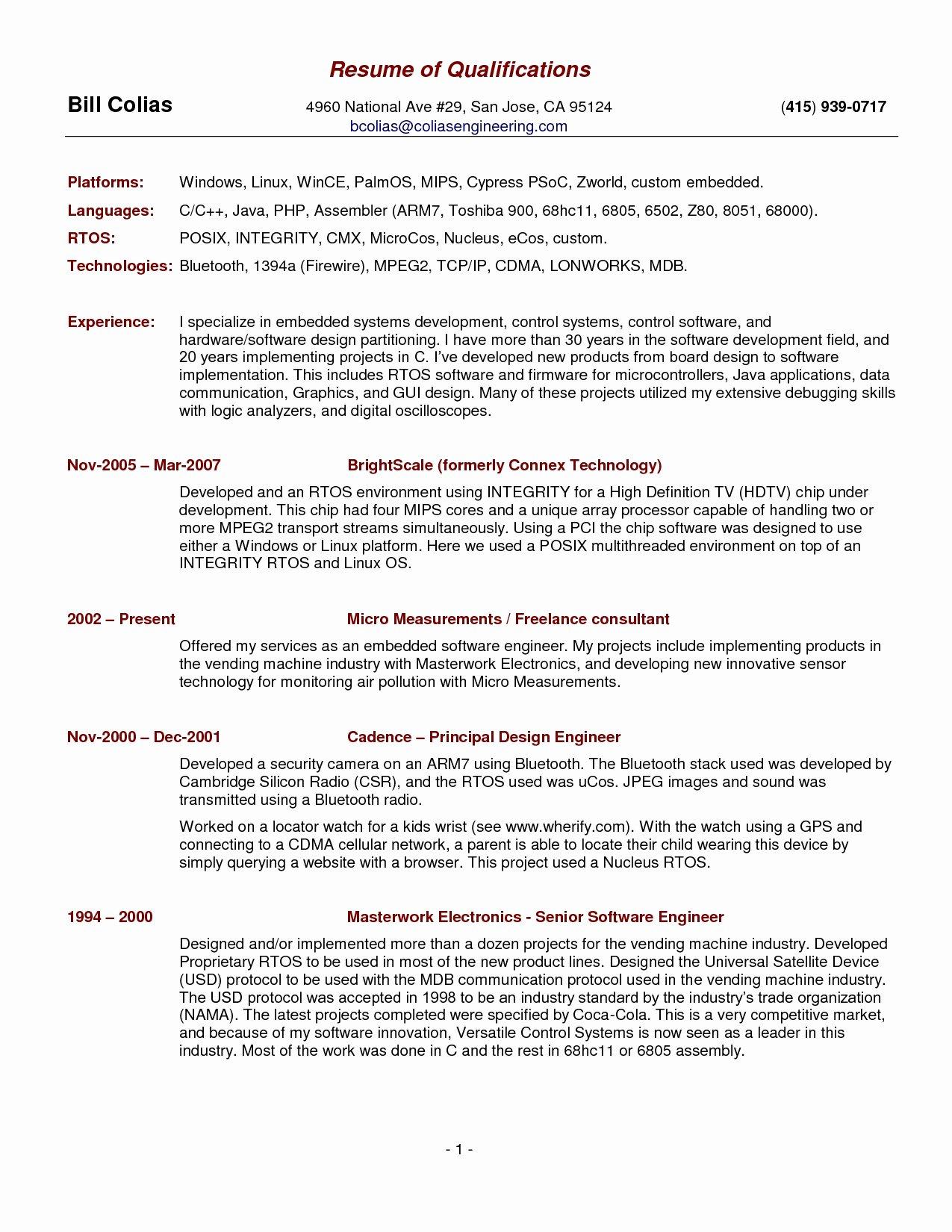 Summary Qualifications Resume Samples Resume Ideas