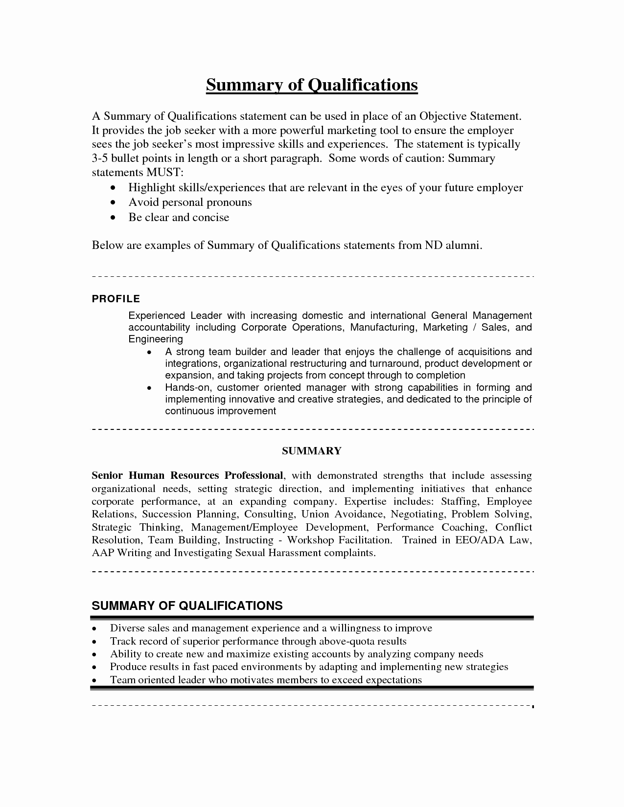 Summary Qualifications Sample Resume Accounting