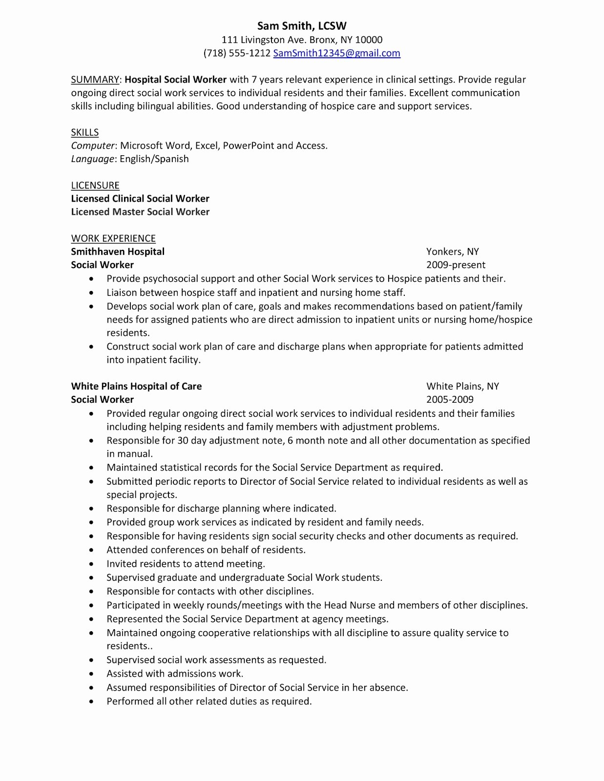 Summary Sample Hospital social Work Resume Examples with
