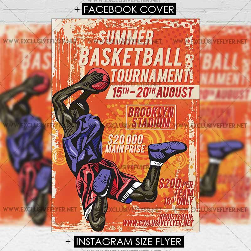 Summer Basketball tournament – Premium A5 Flyer Template