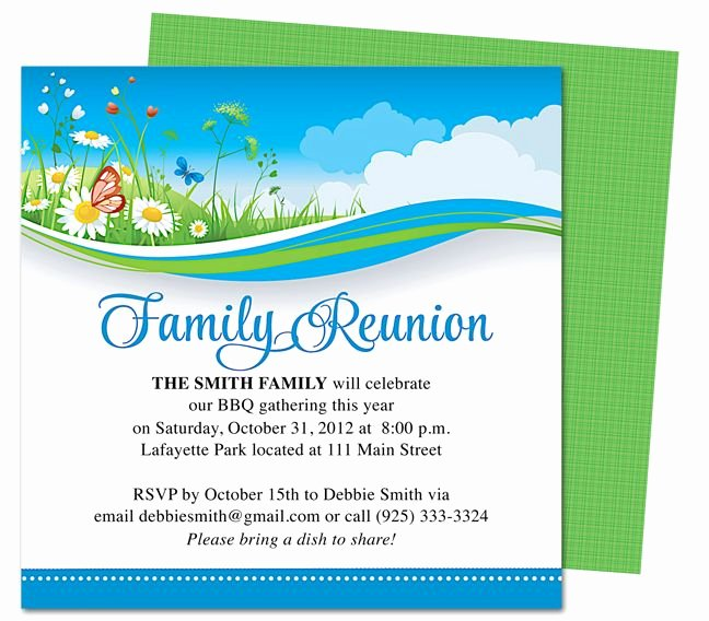 Summer Breeze Family Reunion Party Invitation Templates
