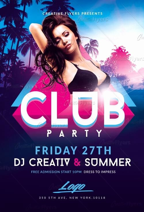 Summer Club Party Flyer Template Creative Flyers