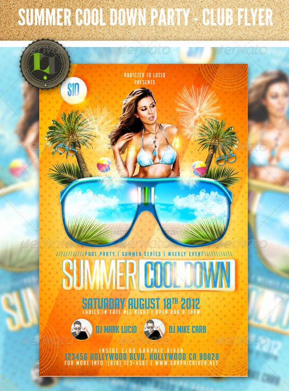 Summer Cool Down Pool Party Psd Flyer Template by