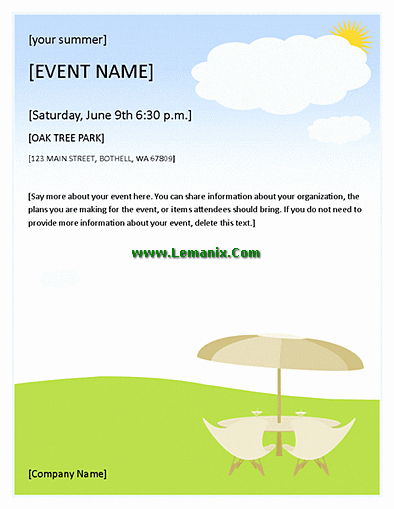 Summer event Flyer for Microsoft Publisher Templates for