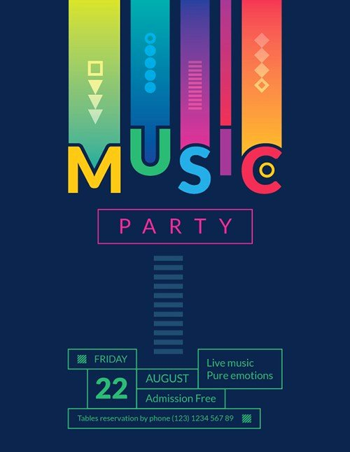 Summer Music Party Free Flyer and Poster Template for