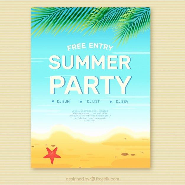 Summer Party Invitation On the Beach Vector