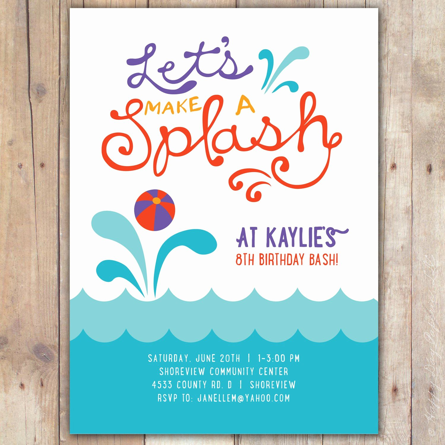 Summer Party Invitation Template Summer Pool Party
