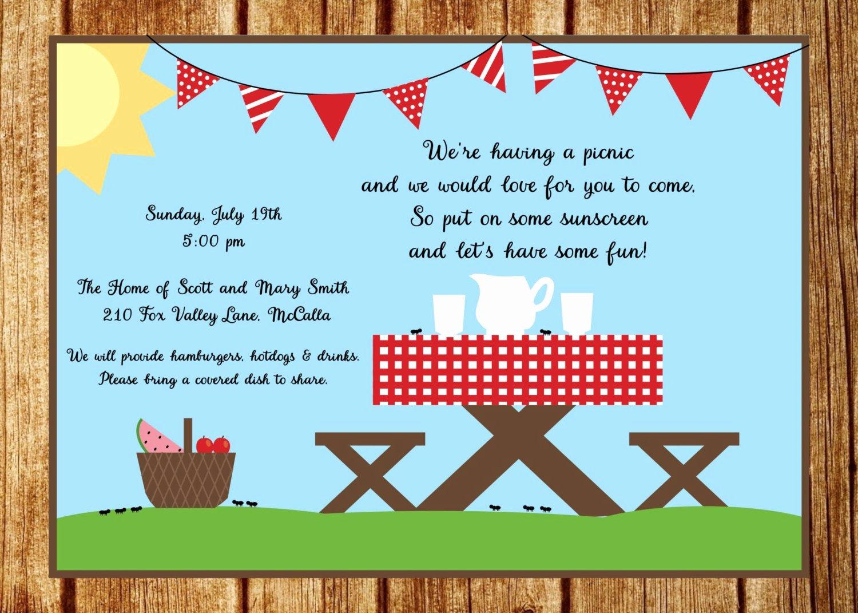 Summer Picnic Invitation Summer Party Invitation Custom Park