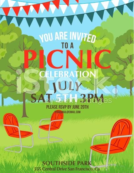 Summer Picnic Party Invitation Template Royalty Free Stock
