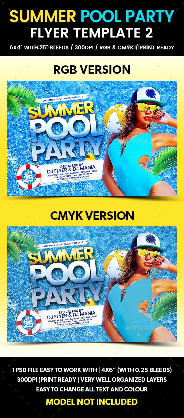 Summer Pool Party Flyer Template 2 by Flyermania