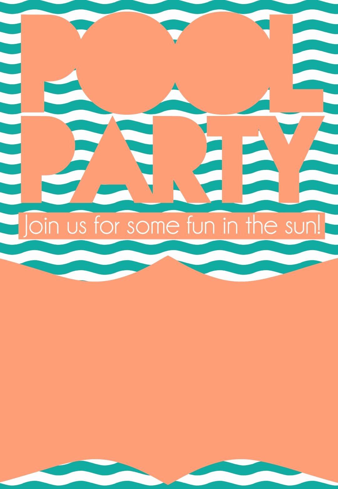 Summer Pool Party Invitation Free Printable Diy