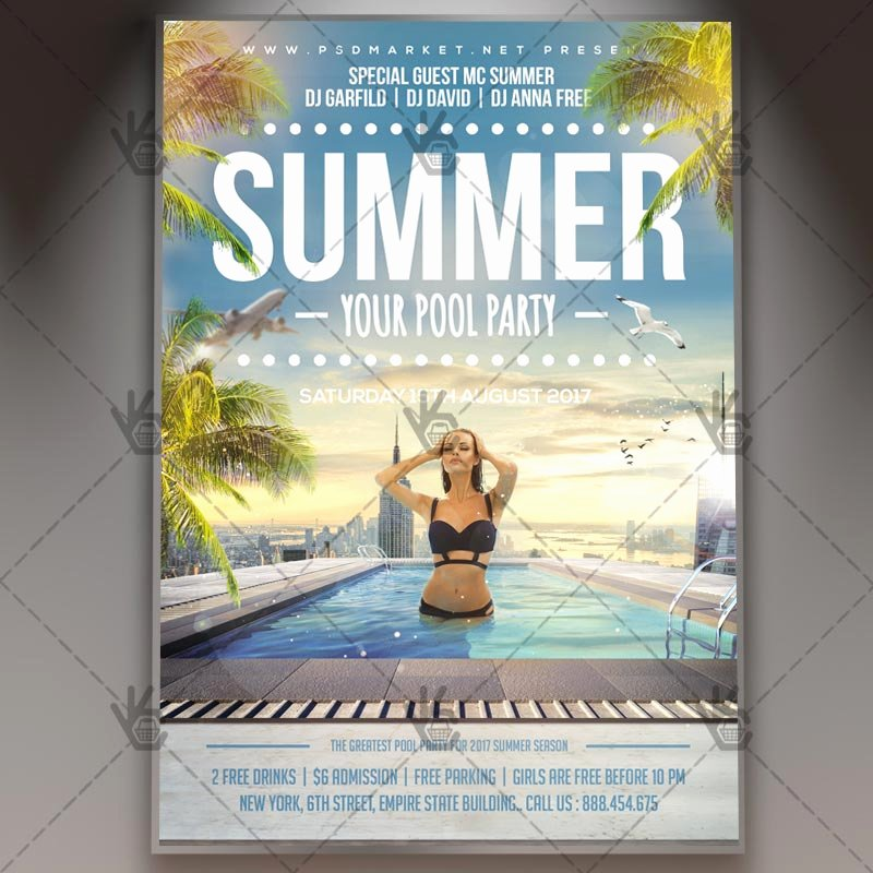 Summer Pool Party Premium Flyer Psd Template