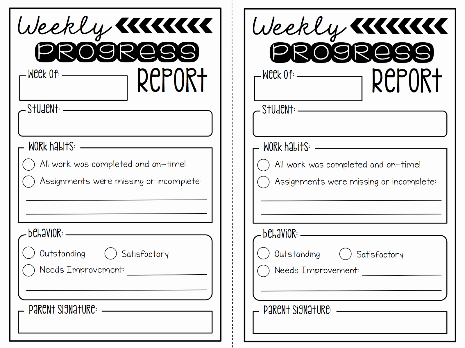 Summertime Revamp 2 Weekly Progress Reports Freebie