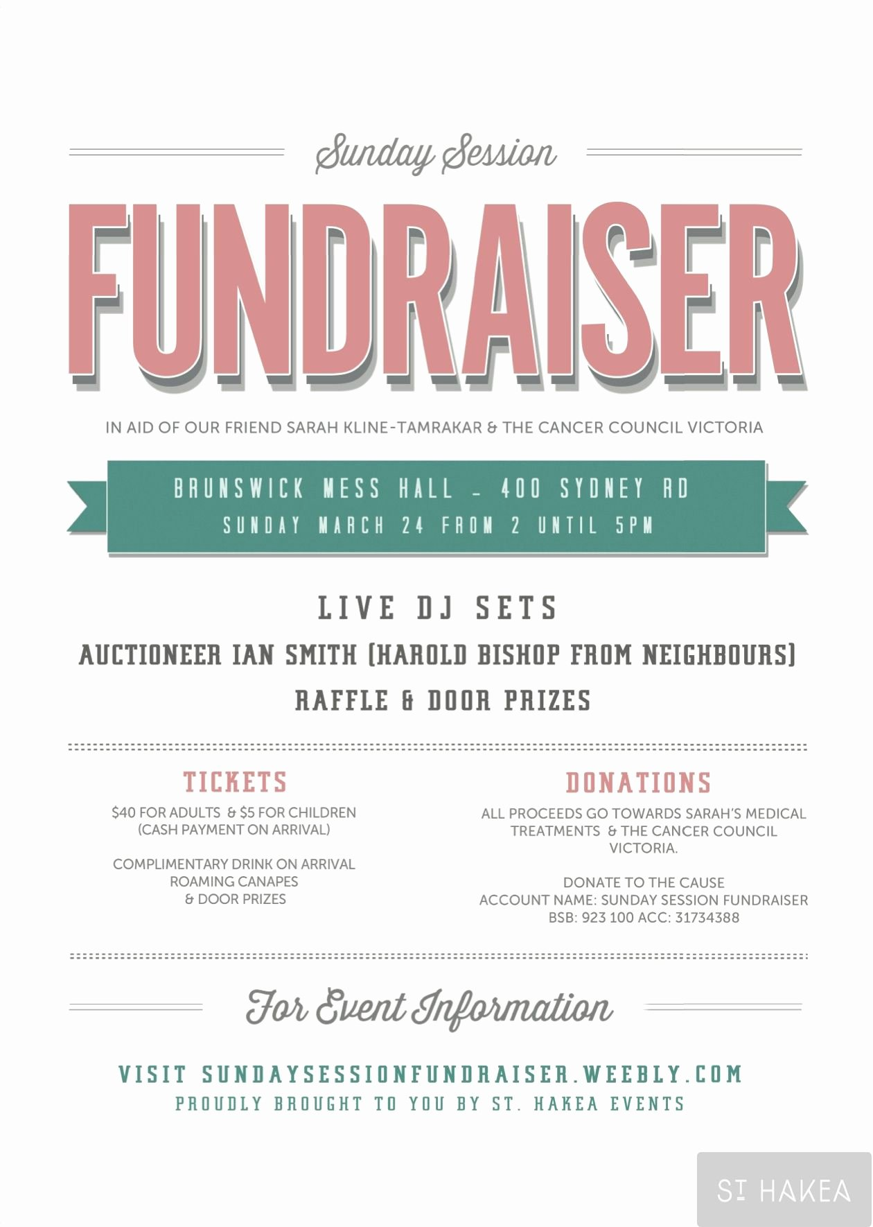 Sunday Session Fundraiser event Flyer Proudly Bought to