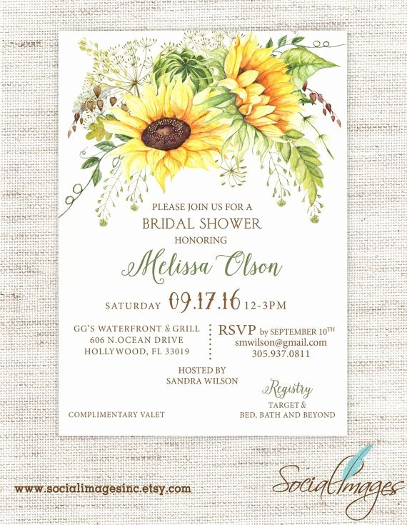 Sunflower Bridal Shower Invitation Wedding Shower