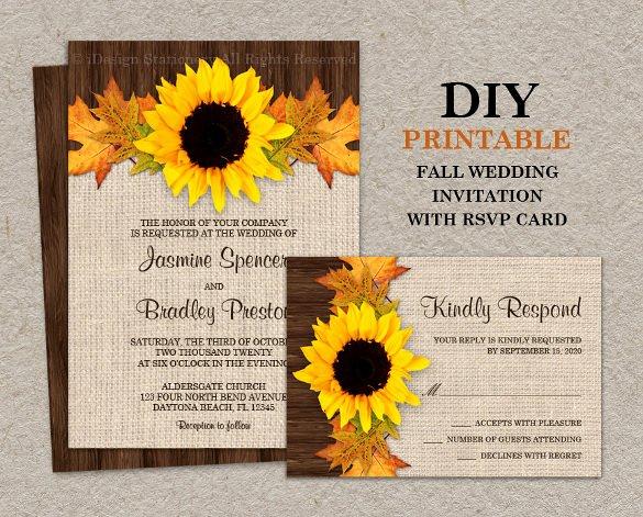 Sunflower Wedding Invitation 16 Psd Jpg format Download