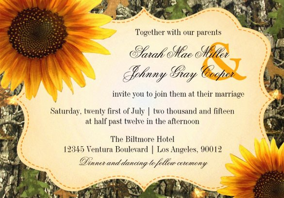 Sunflower Wedding Invitation 16 Psd Jpg format Download