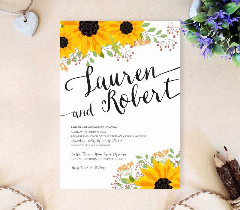 Sunflower Wedding Invitation Lemonwedding