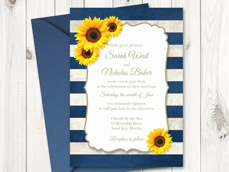 Sunflower Wedding Invitation Printable Template with Navy Blue